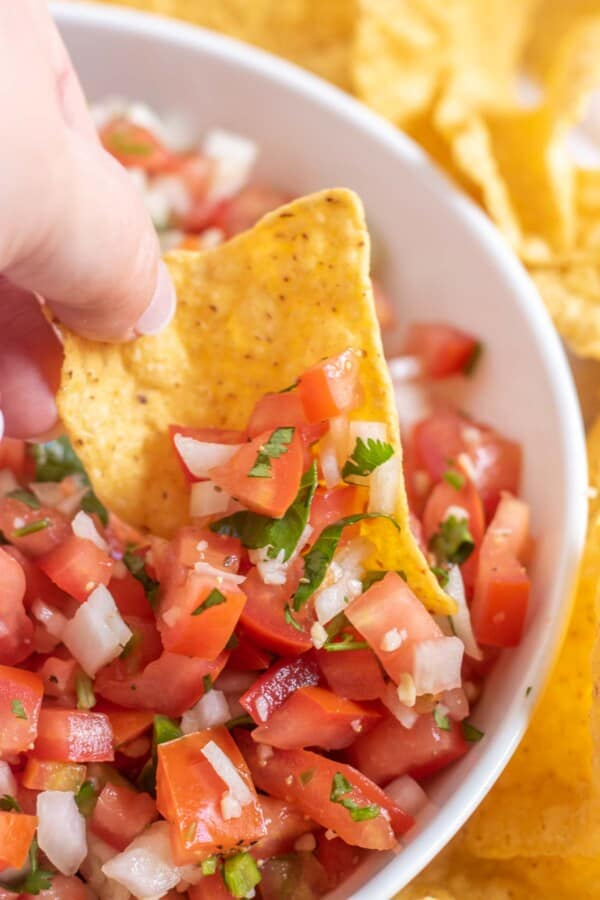 pico de gallo on a tortilla chip