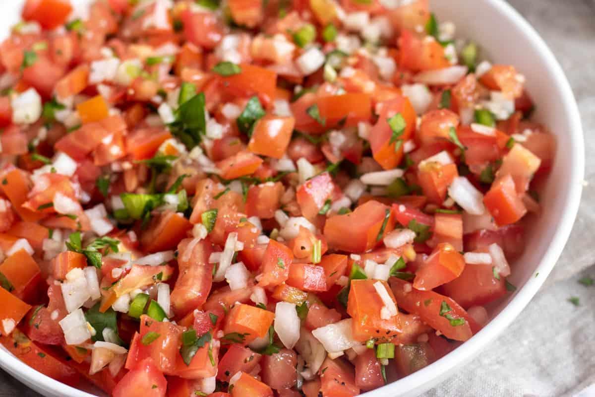 salsa fresca in a white bowl