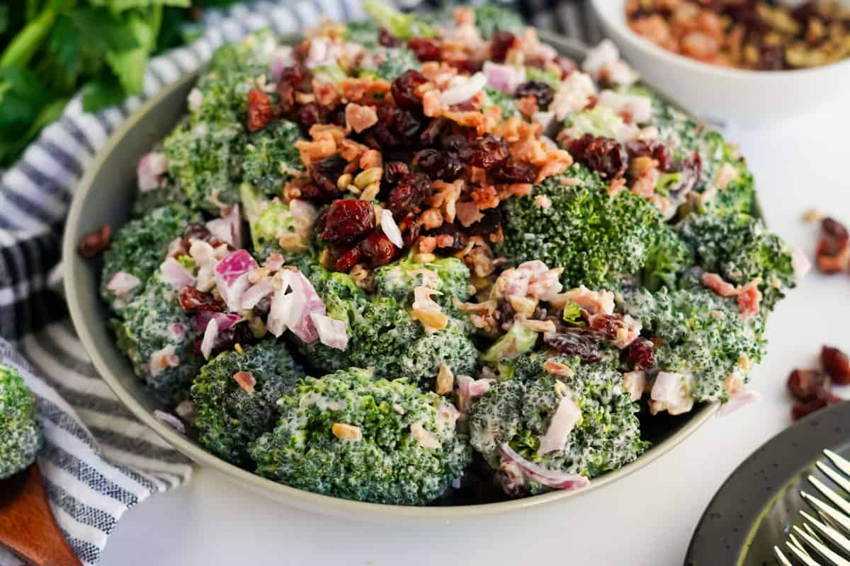 broccoli salad in a bowl with bacon