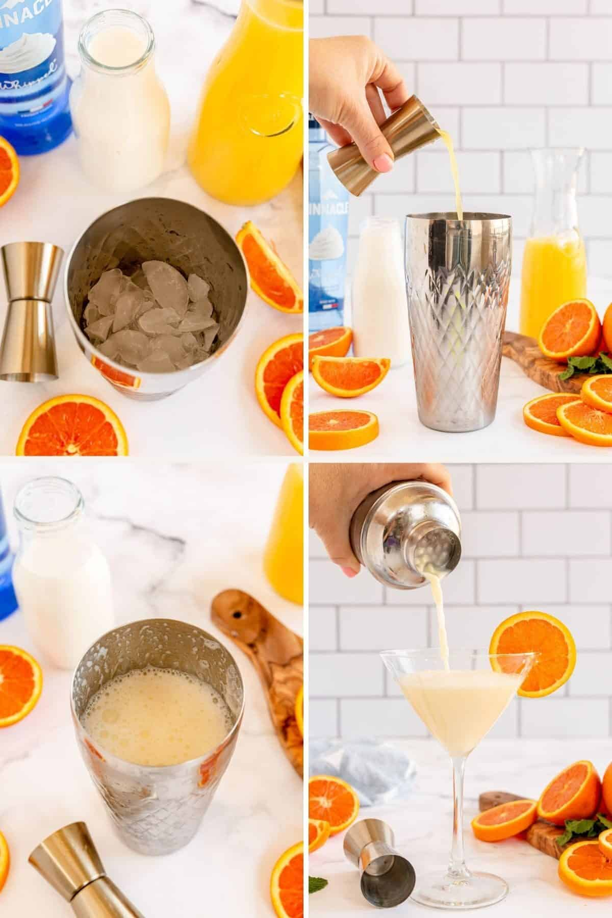 4 step by step shots showing the steps to make an orange martini