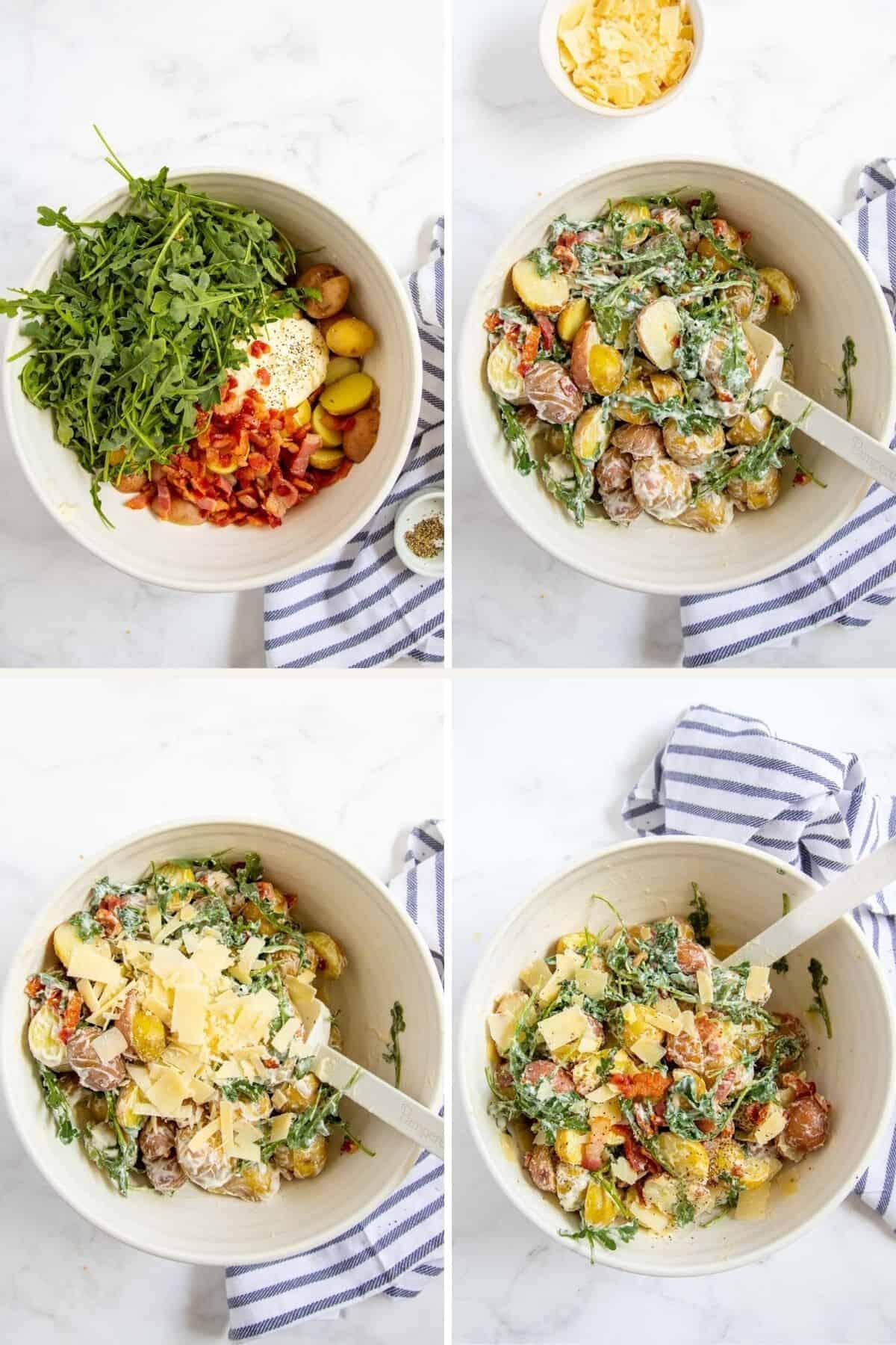 combining ingredients for potato salad