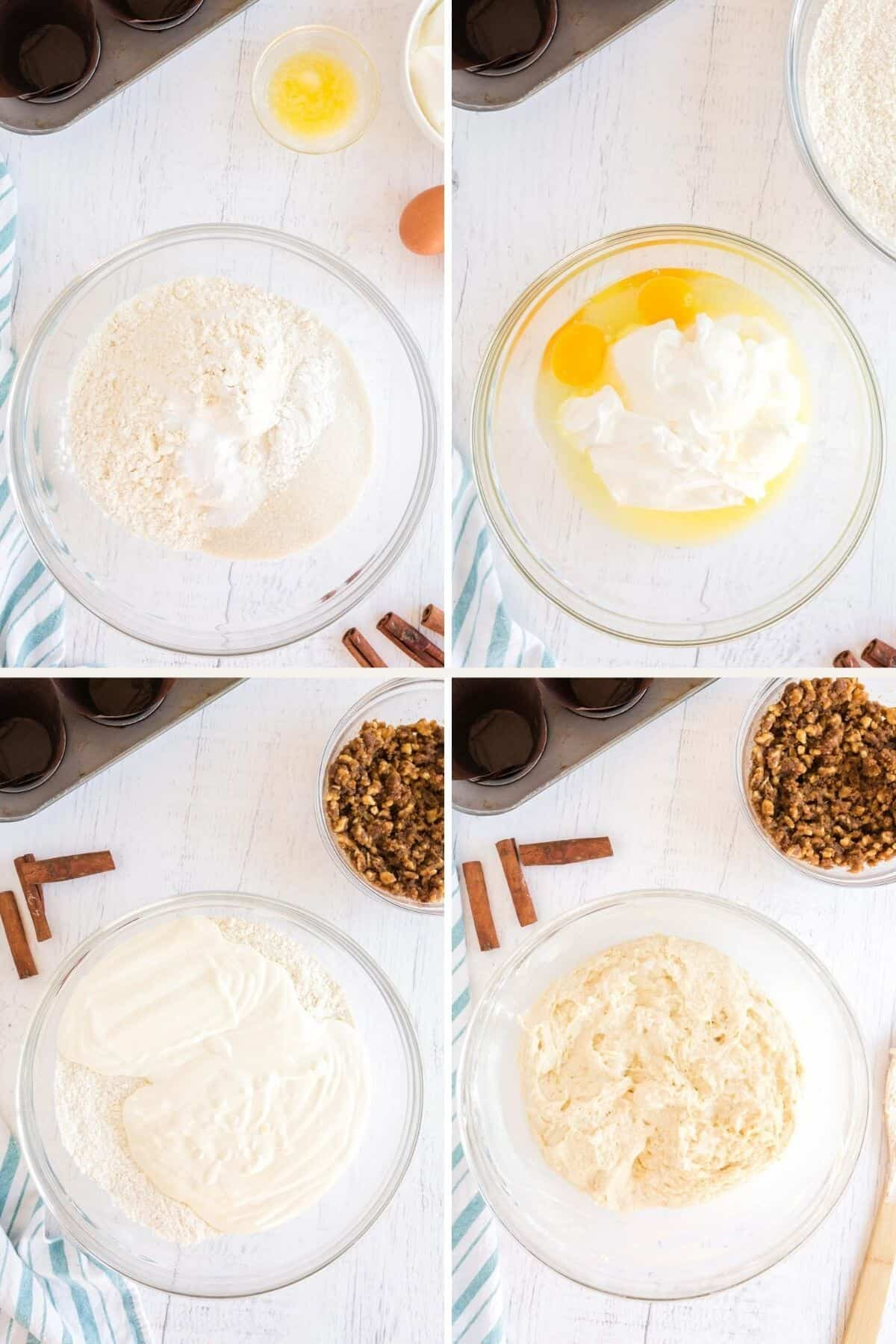 step by step collage of making muffin batter
