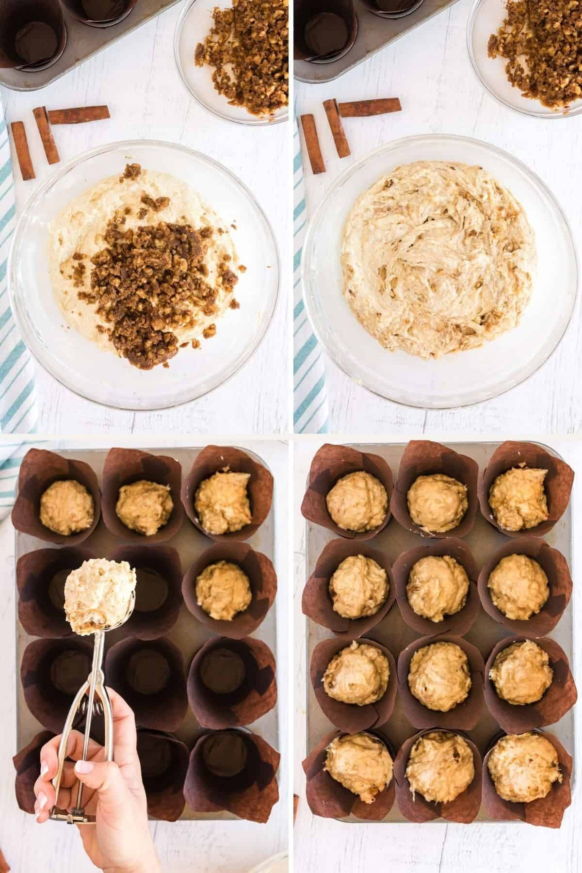 collage showing mixing muffin batter and scooping into muffin pans