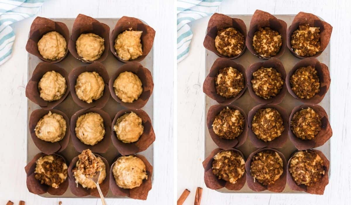 adding streusel to muffins