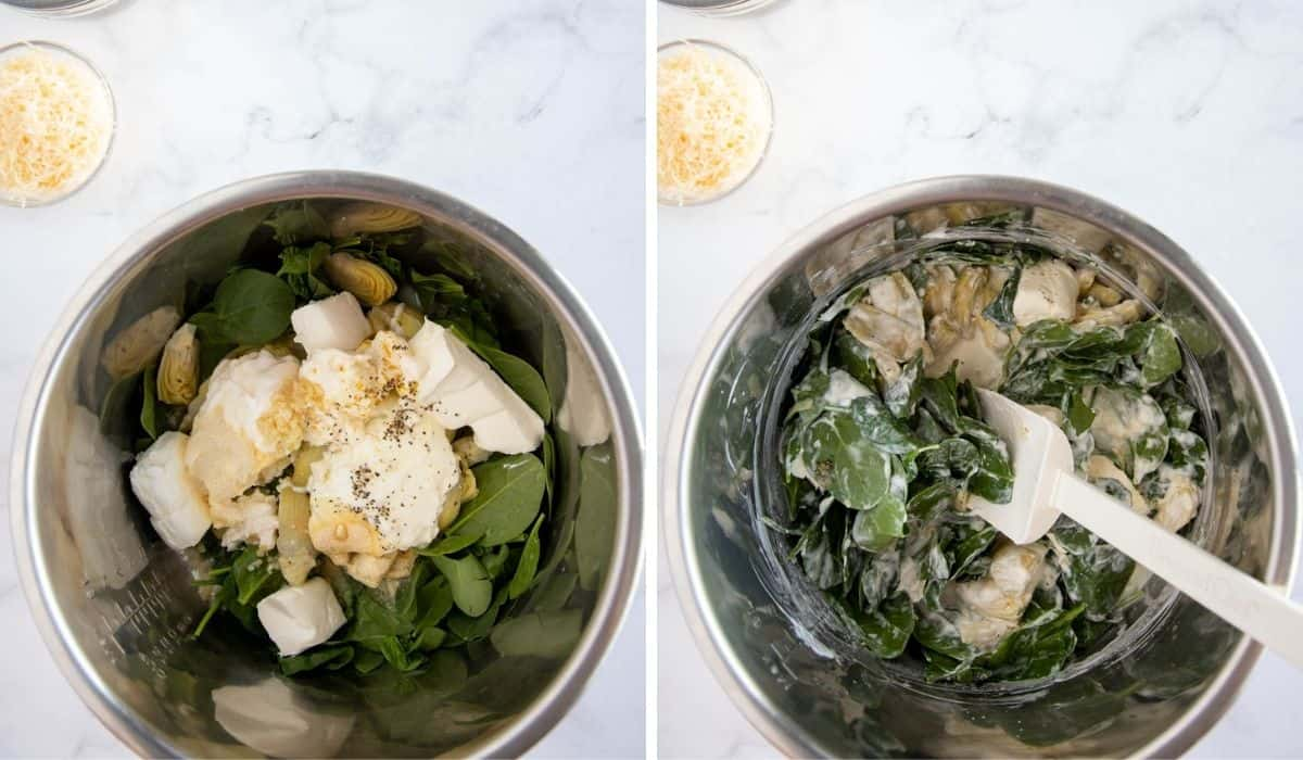 collage showing steps to make spinach dip