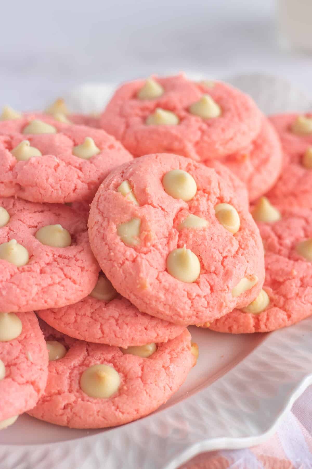 cake mix cookies on a white fluted plate