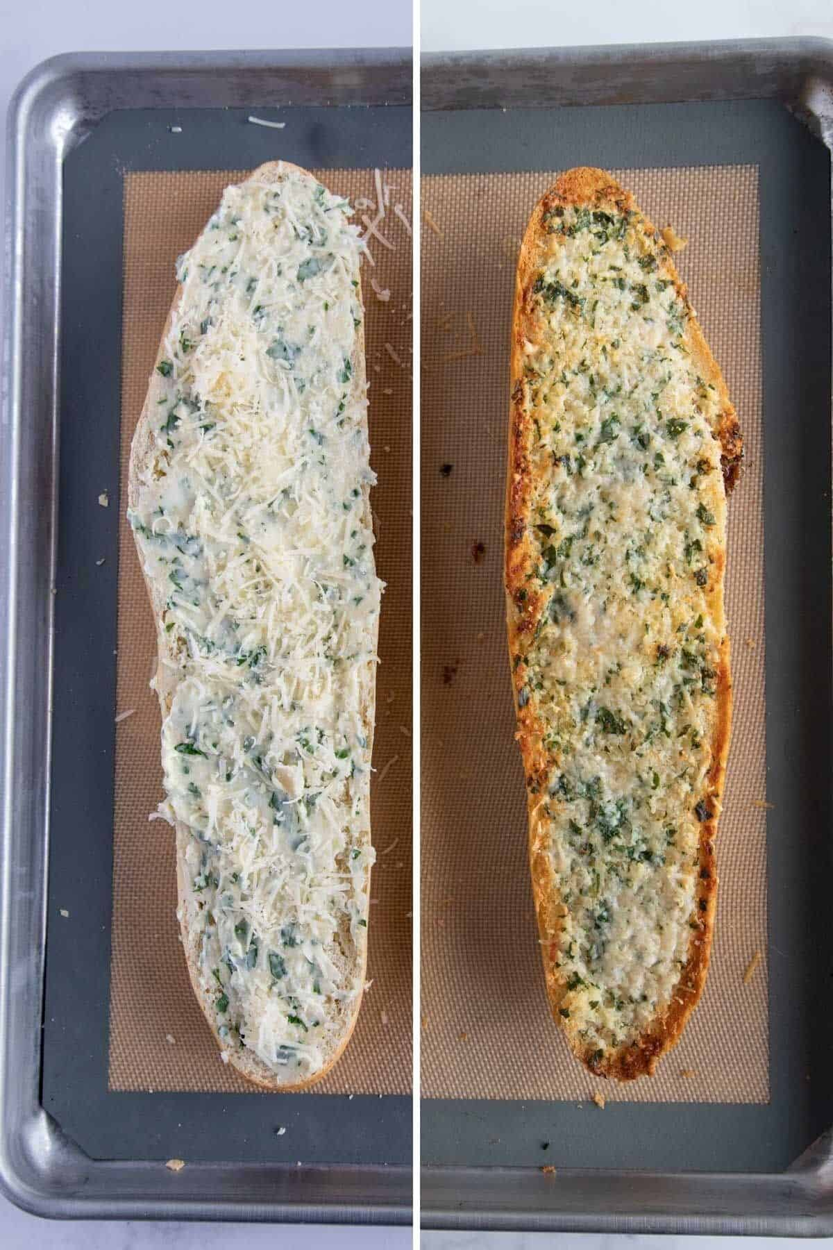 collage showing unbaked and baked garlic bread