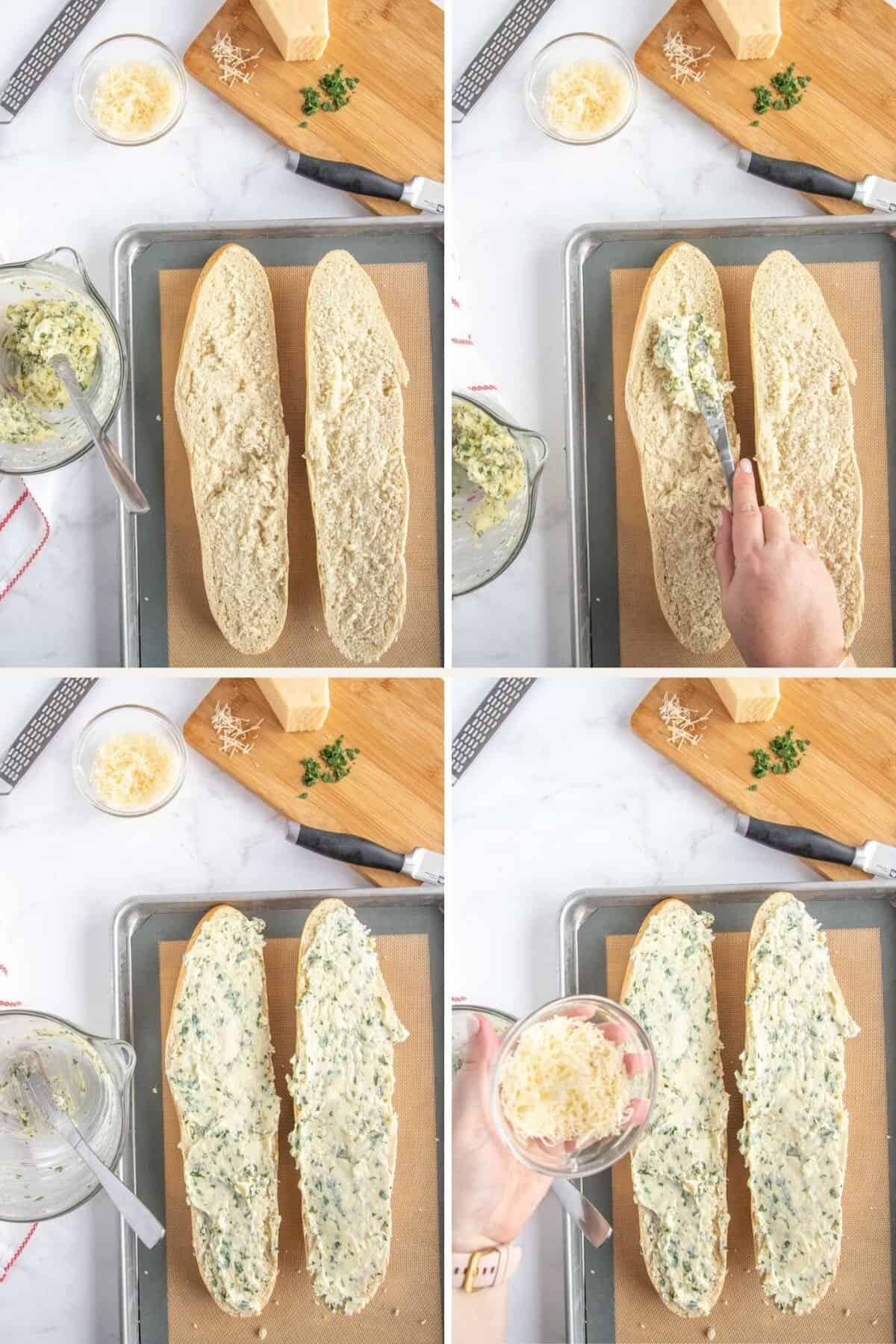 collage showing steps to make garlic bread