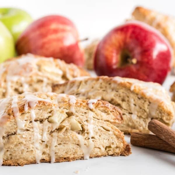 apple cinnamon scones on a white background
