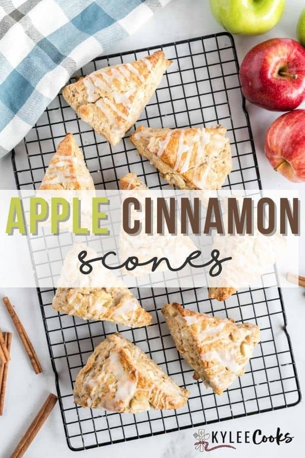 apple cinnamon scones with recipe name overlaid in text