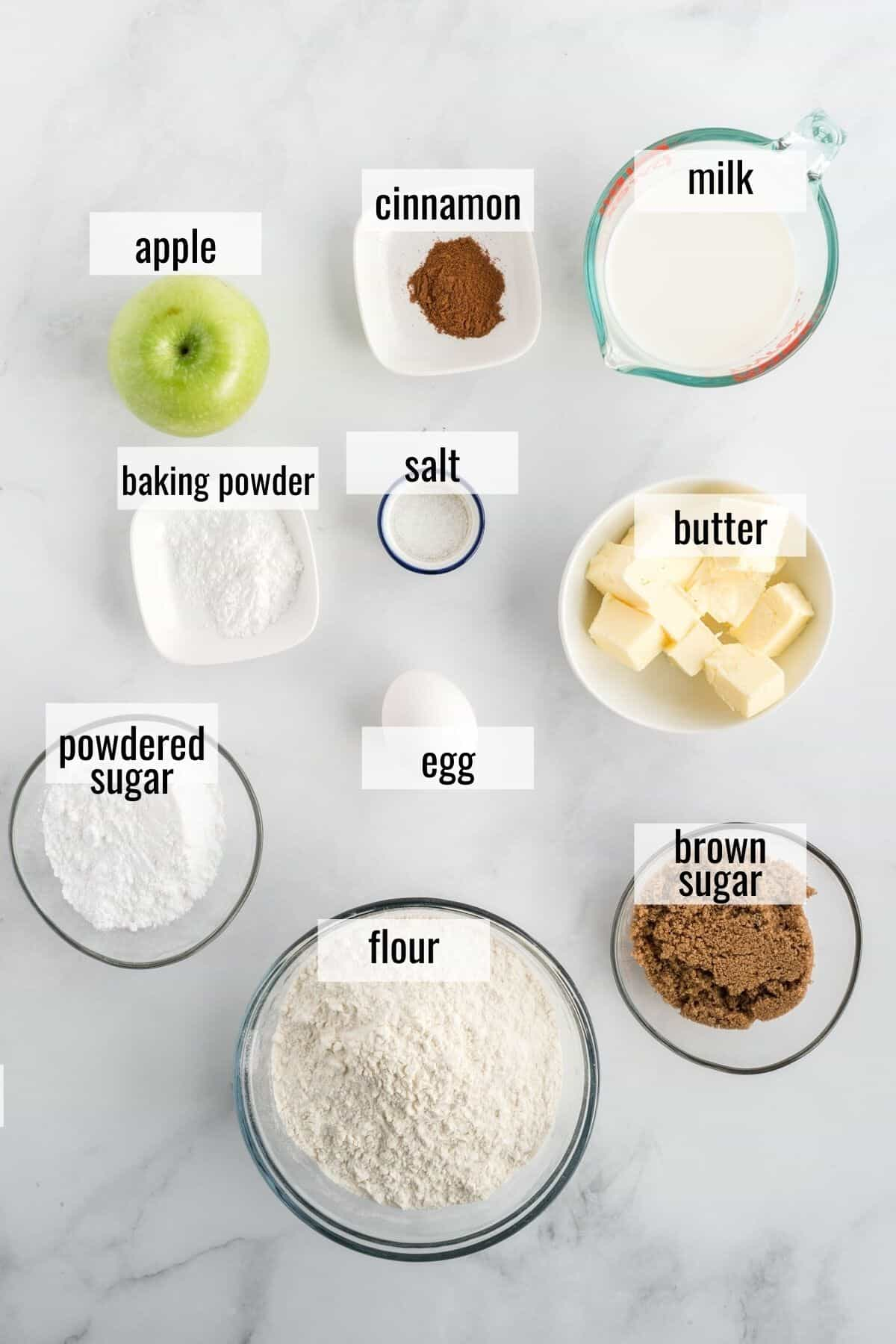ingredients for apple cinnamon scones laid out and labeled