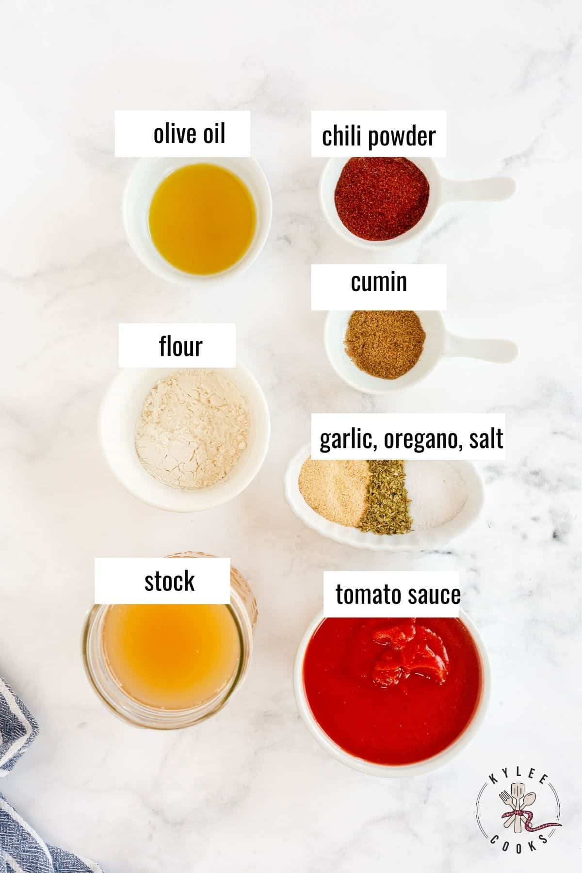 ingredients used in making enchilada sauce from scratch laid out and labeled