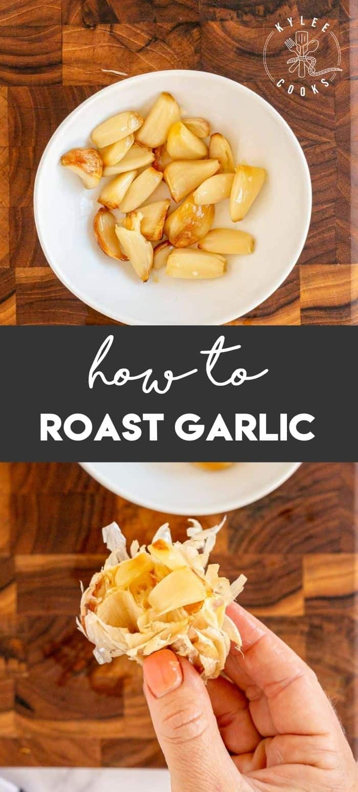 collage of a bowl of roasted garlic with text overlay