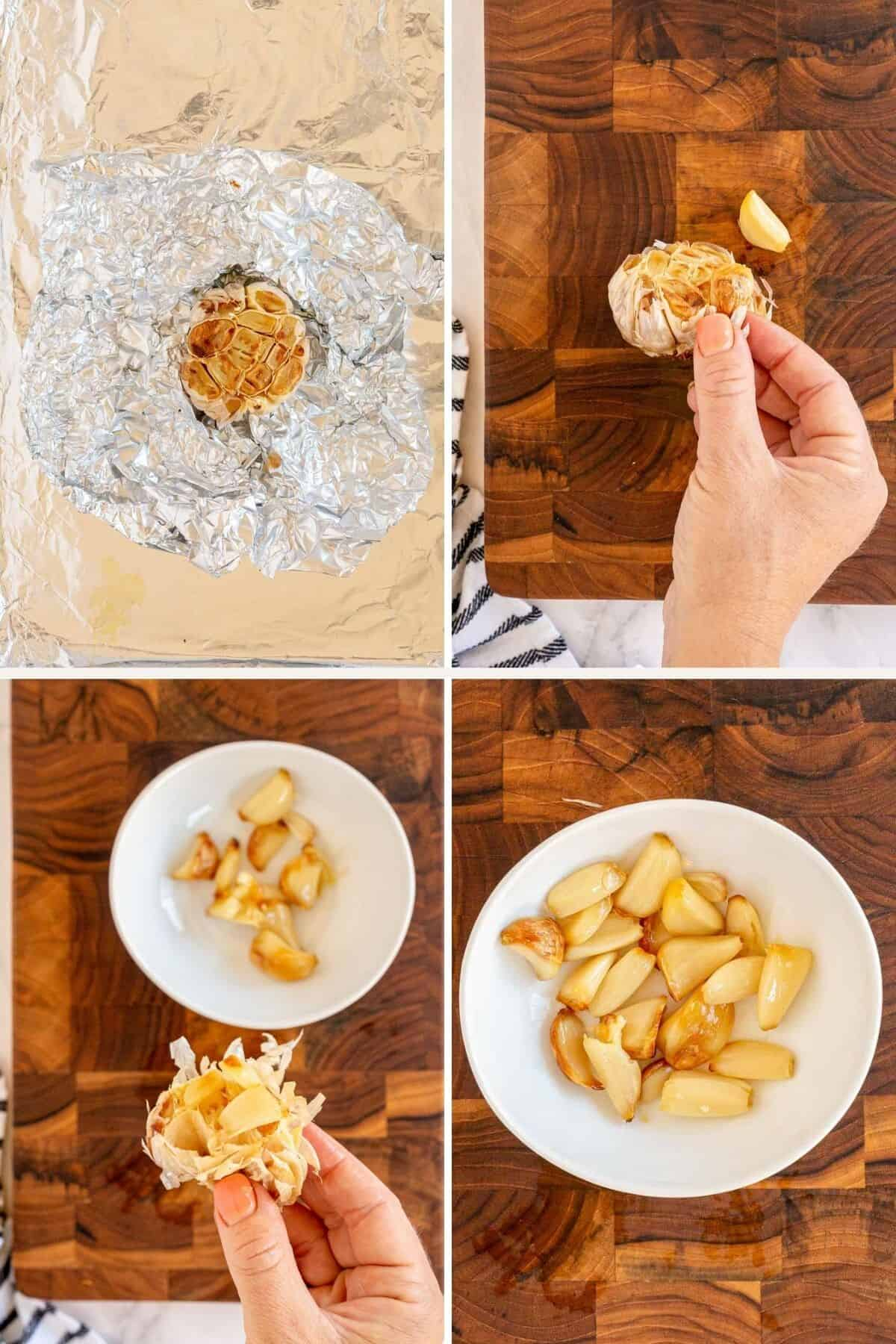 collage of how to roast garlic