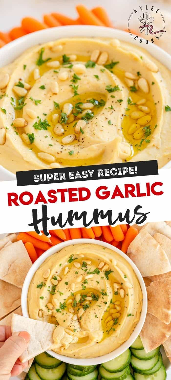 roasted garlic hummus in a white bowl with pine nuts