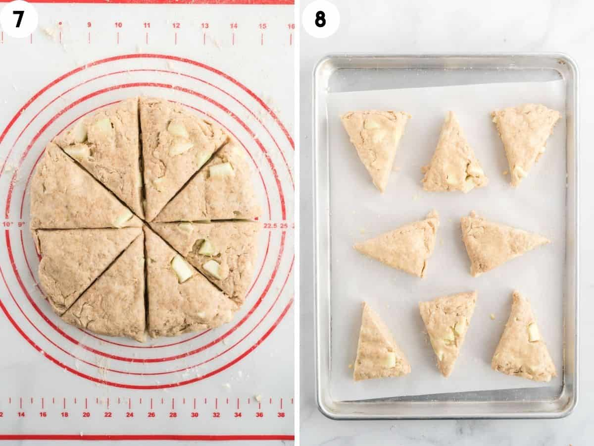 collage showing shaping and cutting apple scones