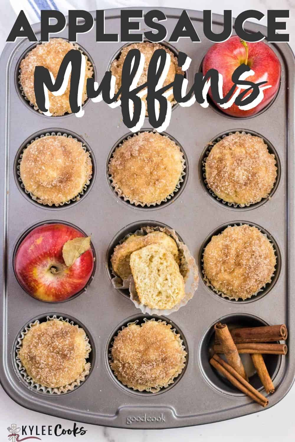 applesauce muffins with recipe text overlaid
