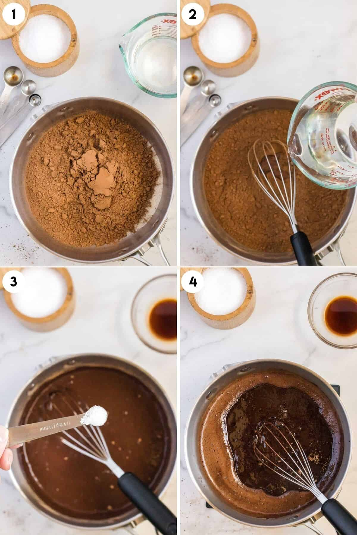 steps 1-4 of making chocolate syrup