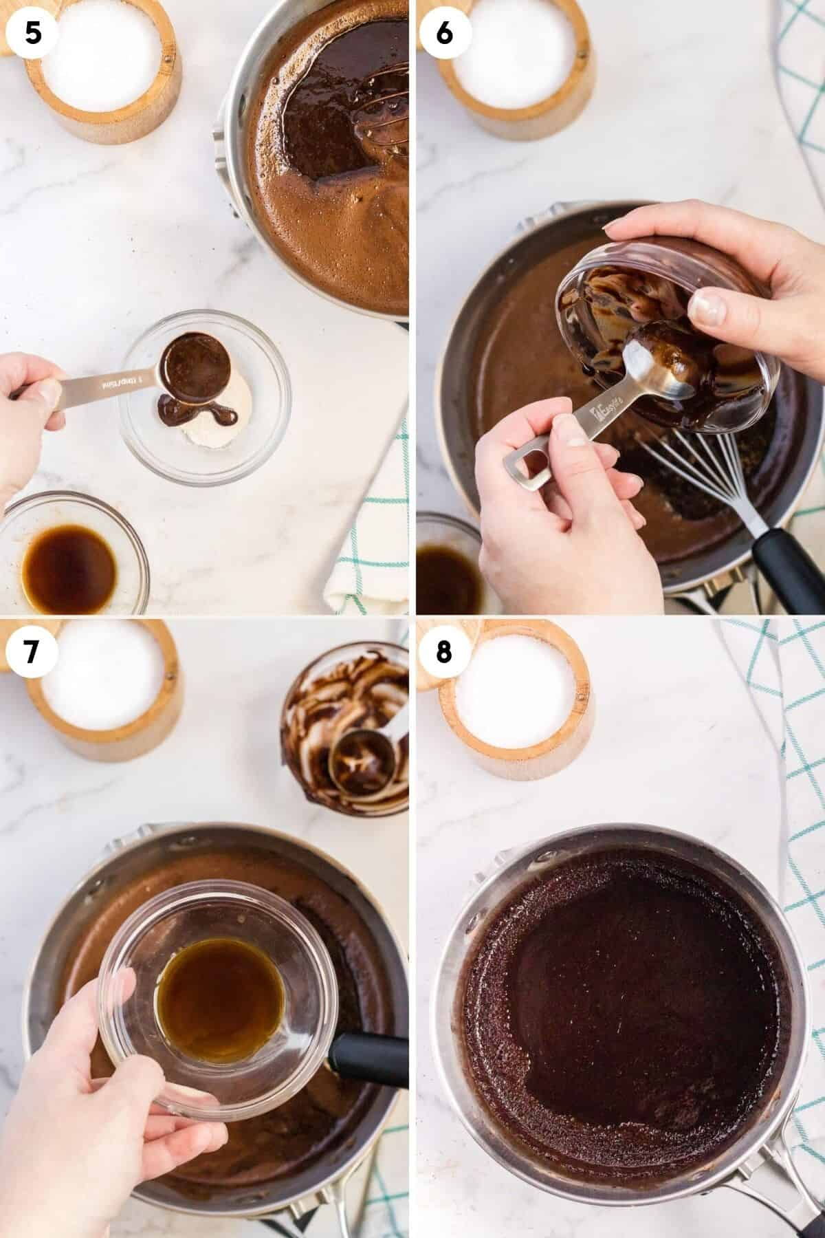 steps 5-8 of making chocolate syrup
