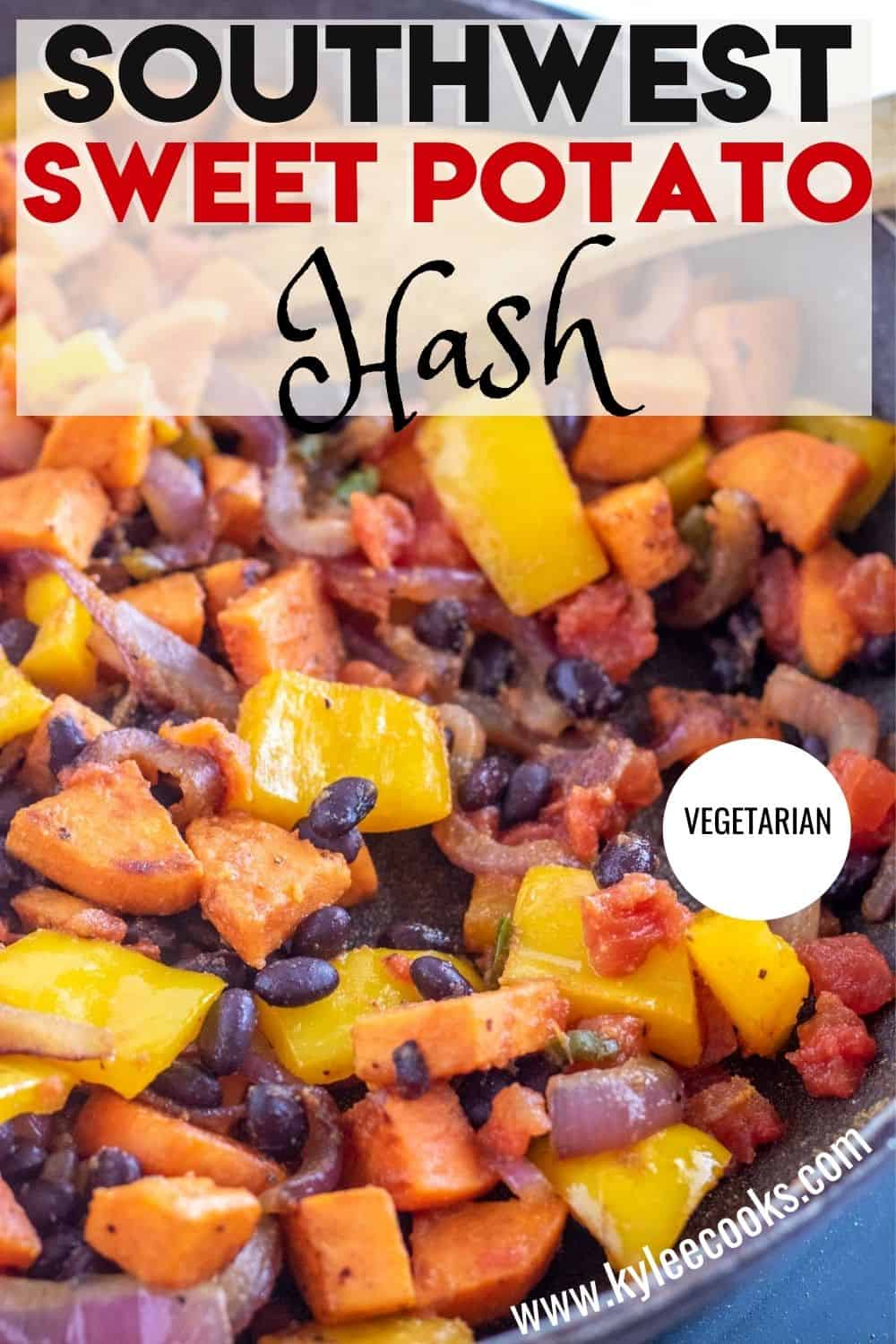 sweet potato hash in a skillet with recipe title overlaid in text