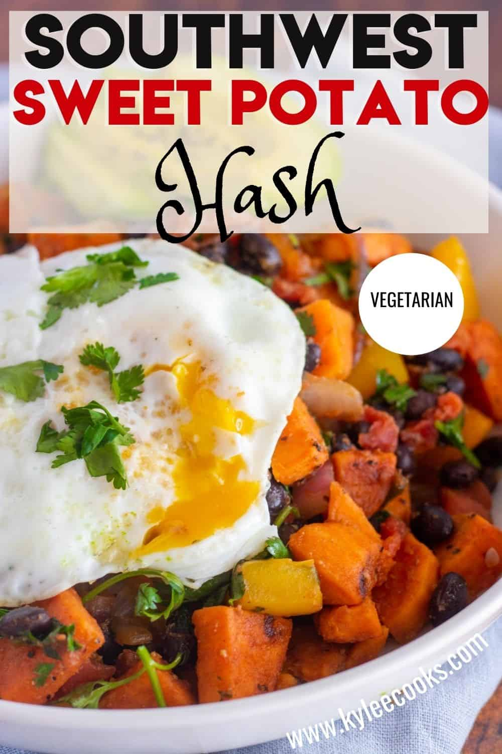 sweet potato hash with an egg, with recipe title overlaid in text
