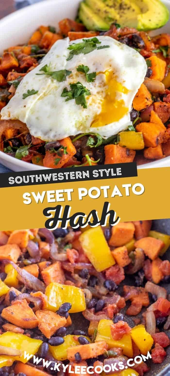 collage of sweet potato hash with recipe title overlaid in text