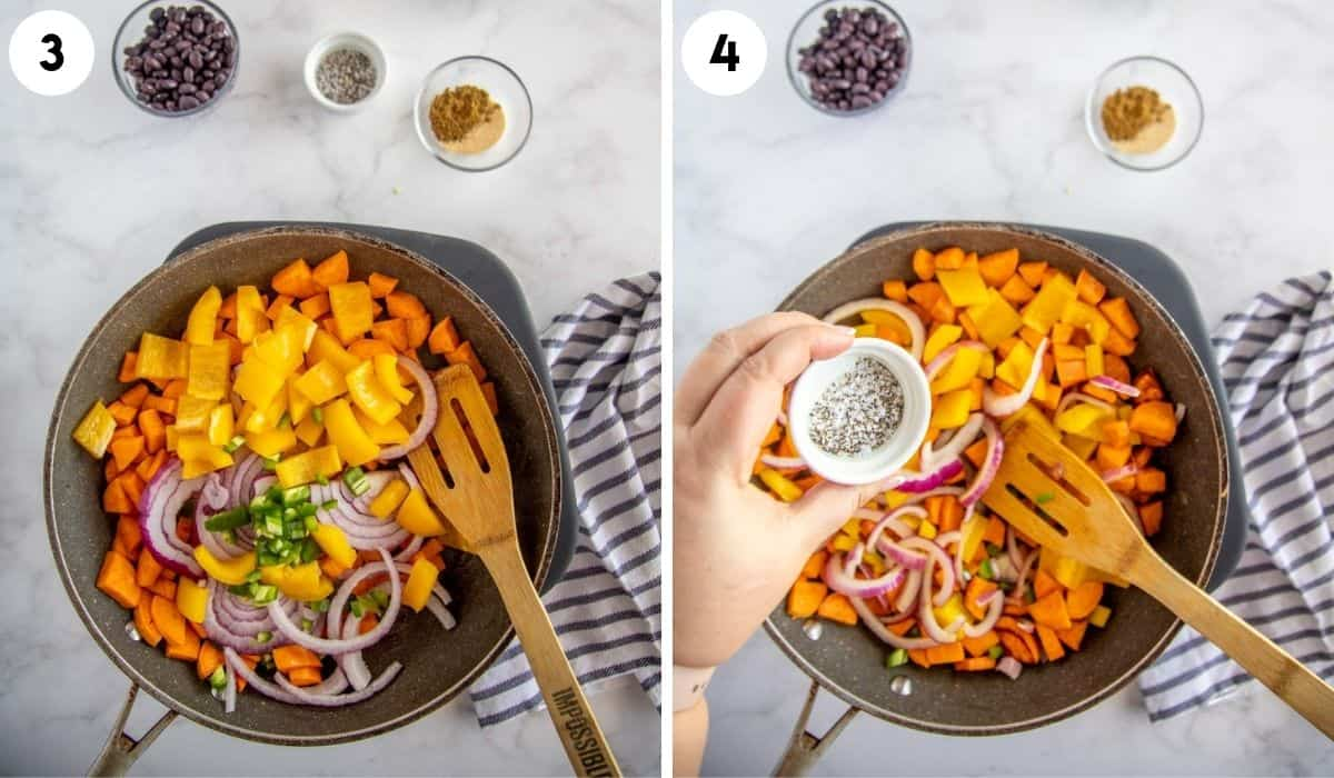 collage showing steps to make sweet potato hash